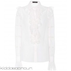 Dolce & Gabbana Lace trim ruffled silk-blend blouse - Womens Blouses P00302722