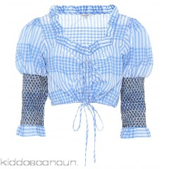 Ganni Charron gingham crop top - Womens Blouses P00319616