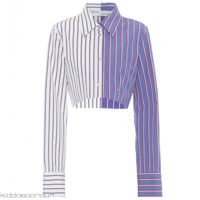 Off-White Cropped striped cotton shirt - Womens Blouses P00309588