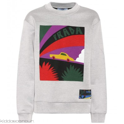 Prada Printed cotton-blend sweatshirt - Womens Sweatshirts P00299809