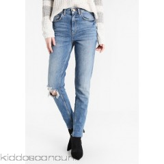 Gina Tricot LEAH MOM - Slim fit jeans - blue destroy - Womens Slim Fit Jeans GID21N006-K11