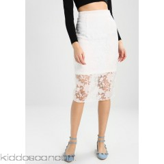 Lost Ink SHEER FLORAL PENCIL - Pencil skirt - white - Womens Pencil Skirts L0U21B02L-A11