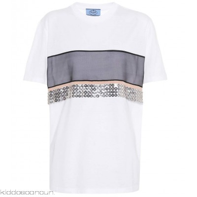 Prada Sequin-embellished T-shirt - Womens T-Shirts P00299948