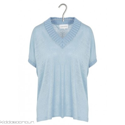 SUD EXPRESS - Women - Linen V-neck T-shirt 7BVN8uX2