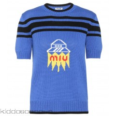 Miu Miu Intarsia wool sweater - Womens Short Sleeved T-Shirts P00297241