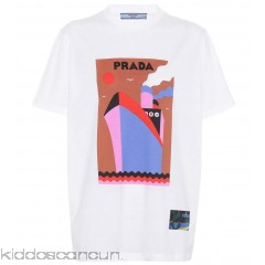 Prada Printed cotton T-shirt - Womens Short Sleeved T-Shirts P00299814