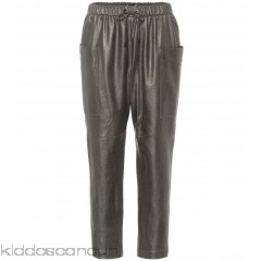 Brunello Cucinelli Metallic leather trousers - Womens Wide-leg Trousers P00305970