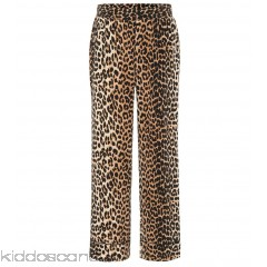 Ganni Fayette leopard-printed silk trousers - Womens Wide-leg Trousers P00302227