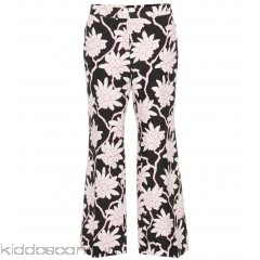 Valentino Printed wool and silk trousers - Womens Wide-leg Trousers P00304138