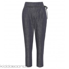 Brunello Cucinelli Cropped chambray trousers - Womens Skinny Trousers P00305961