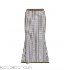 Victoria Beckham Striped wool and cotton skirt - Womens Midi Skirts P00306067