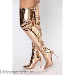 Like A Rockstar Over The Knee Boot - Rose Gold - Womens Boots aBIqFMZj