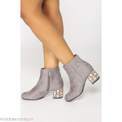 Pearls Please Bootie - Grey - Womens Boots IoBeS8aO