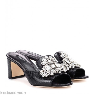 Dolce & Gabbana Crystal-embellished leather sandals - Womens Mules P00256958
