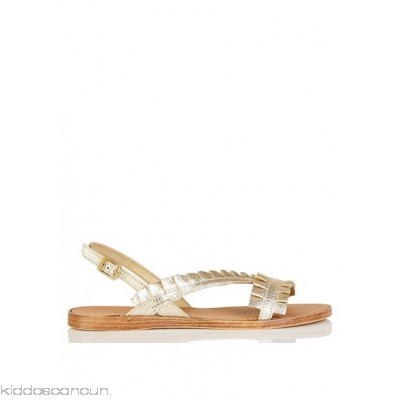 PIECES - Women - Flat leather sandals with ruffles ywetkMMC