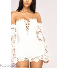 First Kiss Long Sleeve Romper - White - Womens Rompers kLtrq24u