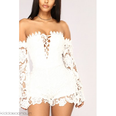 First Kiss Long Sleeve Romper - White - Womens Rompers kMXnNAO1