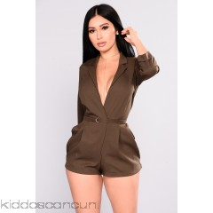 Sweet Desires Tuxedo Romper - Olive - Womens Rompers 1jUjhbq6