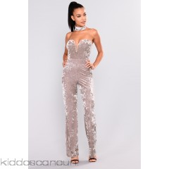 Call Me Crushed Velvet Jumpsuit - Taupe - Womens Jumpsuits Z7IaepEE
