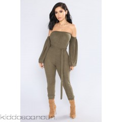 Don't Cry On My Shoulder Jumpsuit - Olive - Womens Jumpsuits Htm8Li6S