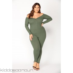 Fool In Love Off The Shoulder Jumpsuit - Olive - Womens Jumpsuits bVHnyLGr