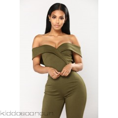 Joelle Off Shoulder Jumpsuit - Olive - Womens Jumpsuits qbW7YWg6