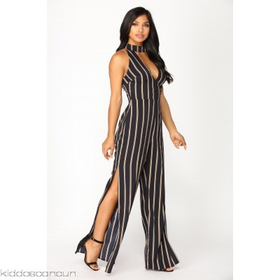 Kudos Striped Jumpsuit - Navy - Womens Jumpsuits UJNVCmUB