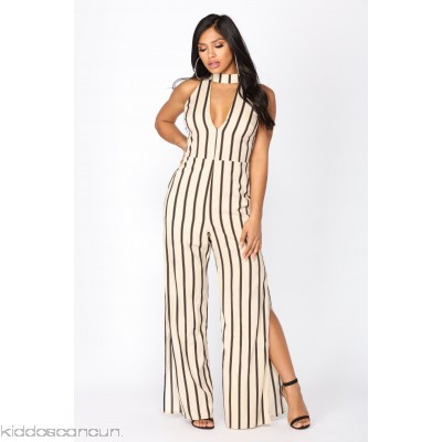 Kudos Striped Jumpsuit - Taupe - Womens Jumpsuits CAfHZbsO