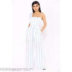 Manchester By The Sea Stripe Jumpsuit - Ivory/Blue - Womens Jumpsuits swMC2MFz