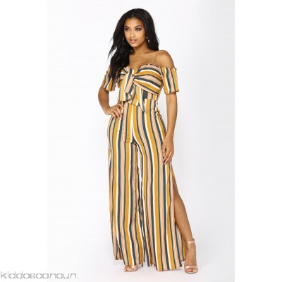 Park View Striped Jumpsuit - Mustard - Womens Jumpsuits EeP9YTFu