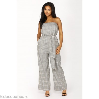 Perfect Attendance Plaid Jumpsuit - Grey - Womens Jumpsuits aj3ki5R9