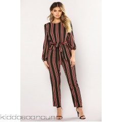 Stripe That Down Jumpsuit - Black Multi - Womens Jumpsuits LdD26xB3