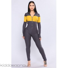 Under Construction Lounge Jumpsuit - Grey - Womens Jumpsuits PFAOapFX