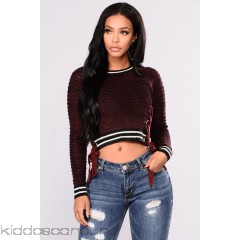 Best Version Lace Up Detail - Wine - Womens Sweaters H6F1Meee