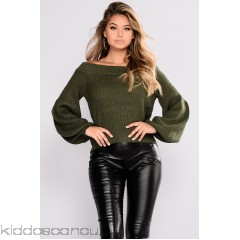Brittany Off Shoulder Sweater - Olive - Womens Sweaters amaKkeDO