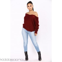 Carianna Twist Front Sweater - Burgundy - Womens Sweaters 3Bn1S503