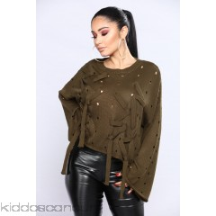 Criss Cross Me Sweater - Olive - Womens Sweaters i1gTtAHj