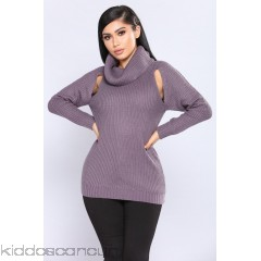 Half Thought Slotted Sweater - Lavender - Womens Sweaters 4Z3By0xZ
