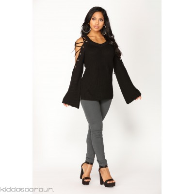 No Explanation Lace Up Sweater - Black - Womens Sweaters zBoTqful