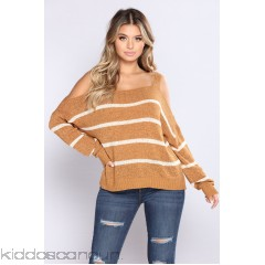 Talk To The Cold Shoulder Sweater - Mustard - Womens Sweaters kB4KCbis