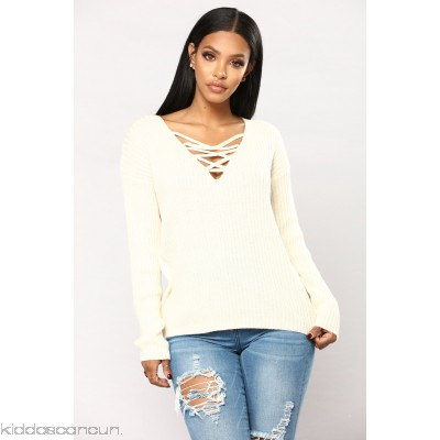 Yevana Lace Up Sweater - Oatmeal - Womens Sweaters PURKBGnS