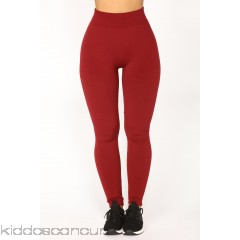 Effortless Fleece Leggings - Burgundy - Womens Leggings QBcyVXO7