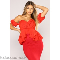 All Of Your Pressure Ruffle Top - Red Orange - Womens Fashion Tops ejYDOjKS