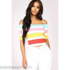 Because I'm Happy Off Shoulder Top - Multi - Womens Fashion Tops vJxhhcno