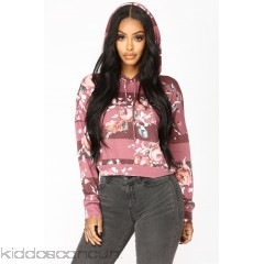 Floral Melody Print Hoodie - Wine - Womens Fashion Tops 3I2uIiIS