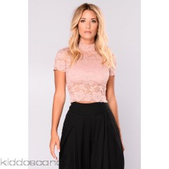 Gina High Neck Lace Top - Dusty PInk - Womens Fashion Tops ahzUriD9
