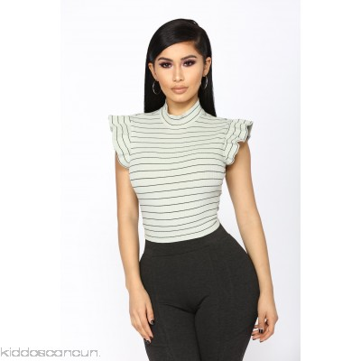 It's The Stripes That Matter Top - Sage/Combo - Womens Fashion Tops RMewPOIi