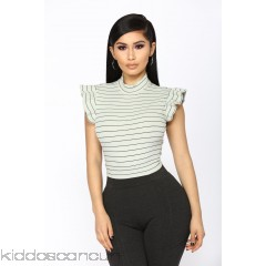 It's The Stripes That Matter Top - Sage/Combo - Womens Fashion Tops YTBXau9A