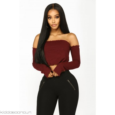 Joy Off The Shoulder Top - Wine - Womens Fashion Tops WrGpC1UW