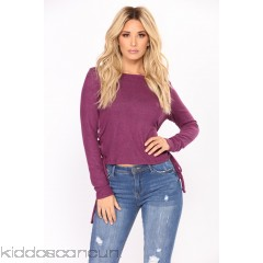 Leave With You Lace Up Top - Plum - Womens Fashion Tops DNNSsdel